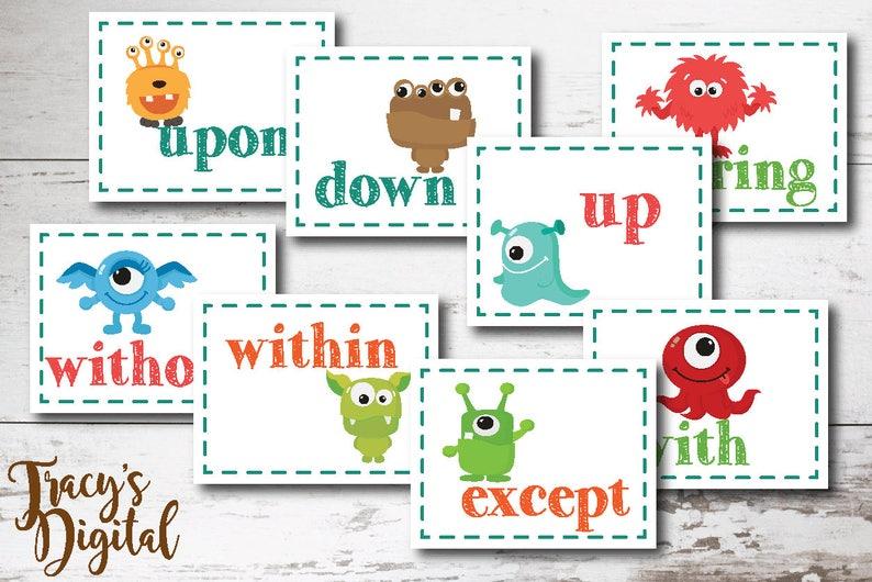 Preposition Flash Cards  Easy Grammar Method  Printable image 0