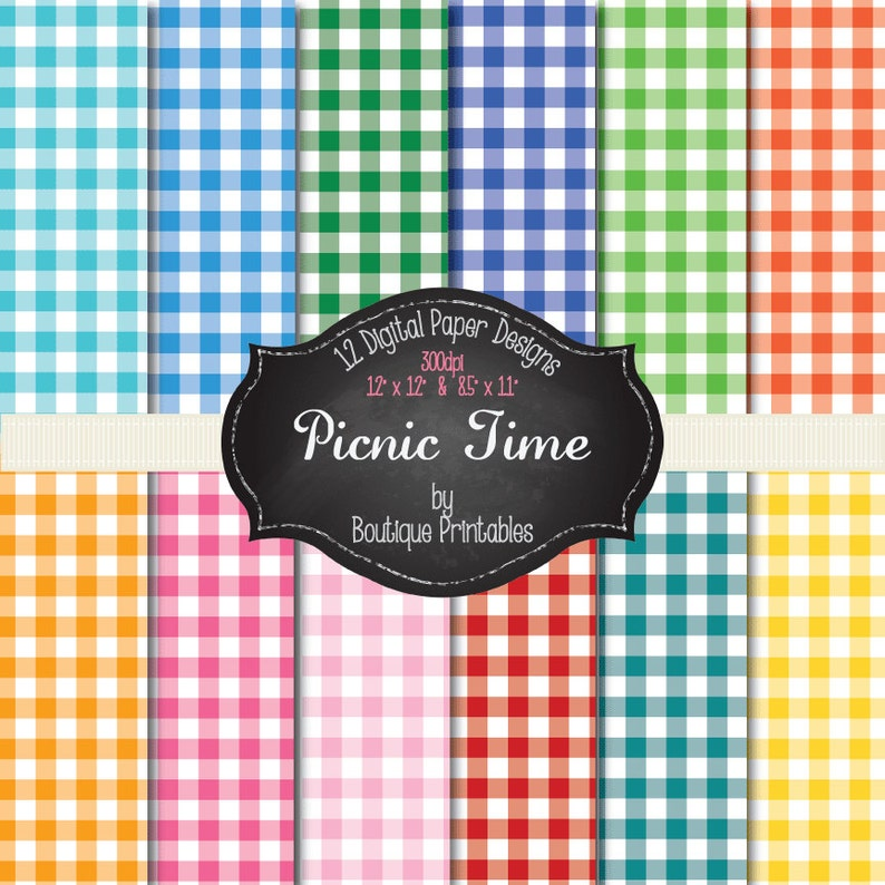 Picnic Time  Gingham digital papers  12x12 and 8.5x11 300 image 0