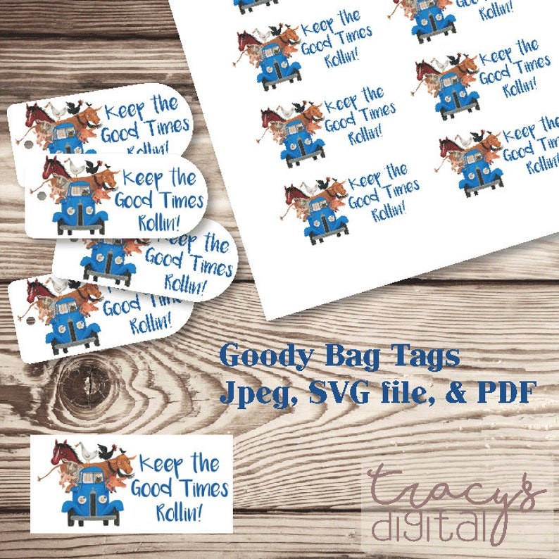 Li'l Blue Truck Goody Bag Tags Tag Kit  Digital Files image 0