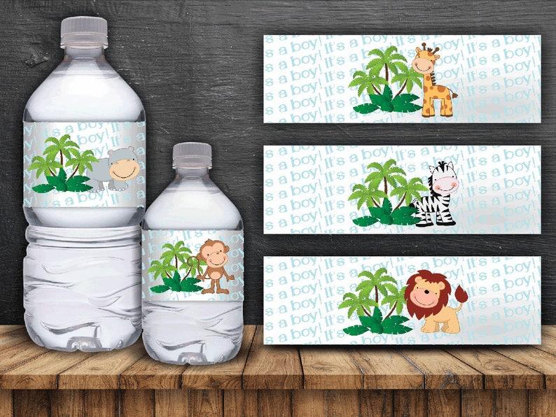Jungle Safari Water Bottle Labels  Digital Files Instant image 0