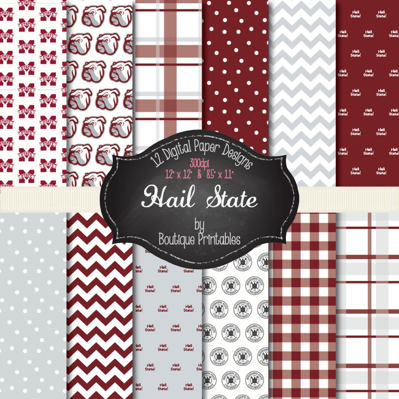 Hail State  Mississippi State digital papers  12x12 and image 0