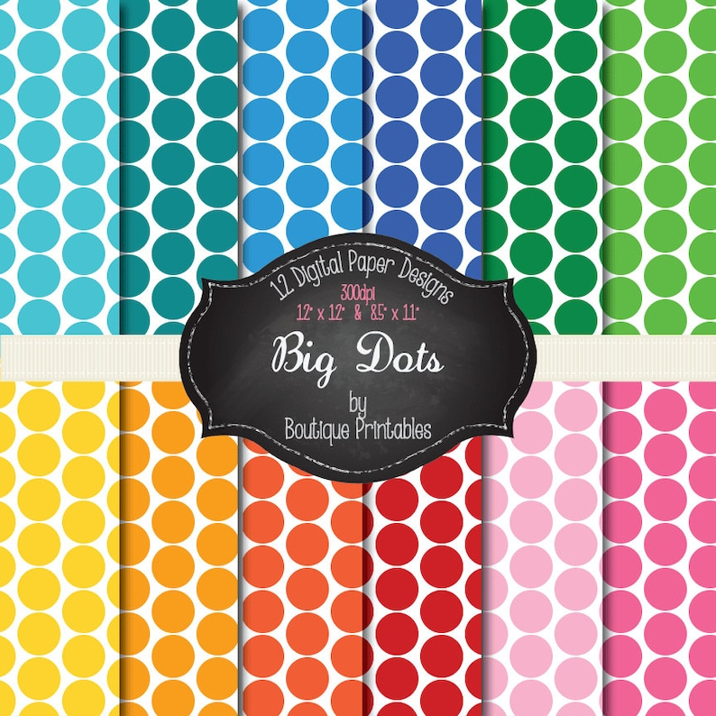 Big Dots  Rainbow Dots digital papers  12x12 and 8.5x11 300 image 0