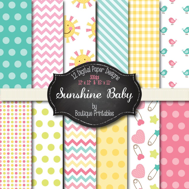 Sunshine Baby digital papers  12x12 and 8.5x11 300 dpi image 0