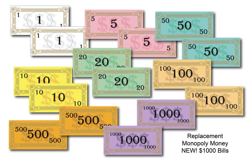 Replacement Board Game Money  Instant Download image 0