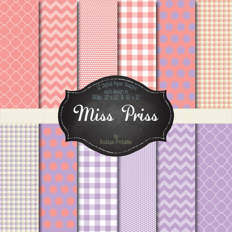 Miss Priss  Pink & Purple digital papers  12x12 and 8.5x11 image 0