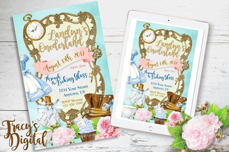 Wonderland Custom Birthday Invitation  Digital Invitation Kit image 0