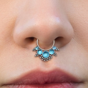 Septum Clicker with CZ Stones Septum Piercing Surgical Steel Septum Nose Ring Daith Jewelry 16g Daith Earring Hoop