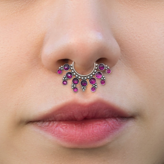 Surgical Steel Septum Ring - Daith Piercing Jewelry - Septum Clicker Ring with Ruby Stones - Daith Ring - Septum Piercing