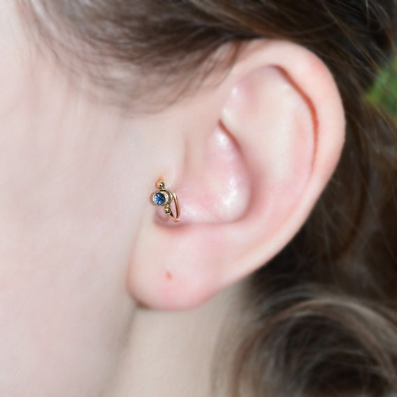 Gold Tragus Earring 2mm Sapphire - Nose Ring Stud - Cartilage Hoop Earring - Helix Piercing - 18g Rook Hoop - Septum Ring 18 gauge