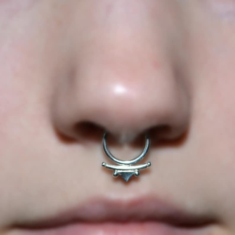 b29f32a140c2c Septum Ring 16g - Silver Nose Piercing - Septum Piercing - Tragus Ring -  Helix Hoop - Cartilage Earring - Nose Ring - Septum Jewelry 16g