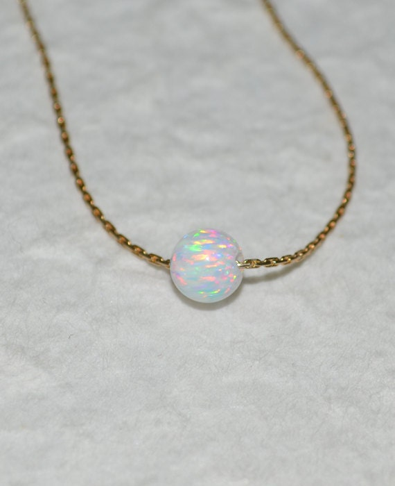 Opal Necklace, Tiny Dot Necklace, Small Opal Ball Gold Necklace, white opal charm, simple dainty circle opal bead necklace, opal jewelry