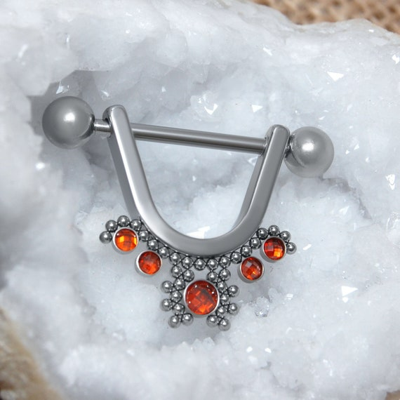 Nipple Barbell - CZ Nipple Ring Surgical Steel - Nipple Shields - Nipple Bar - Nipple Piercing - Nipple Jewelry