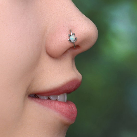 Nose Hoop - 316L Surgical Steel Nose Earring - Nostril Piercing Opal - Nostril Jewelry - Nose Piercing Hoop - Body Piercing Jewelry