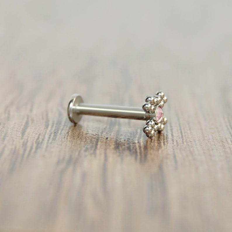 Monroe Labret Titanium Philtrum Piercing Jewelry Lip Ring Lip Labret Stud CZ Labret Earring Medusa Lip Piercing
