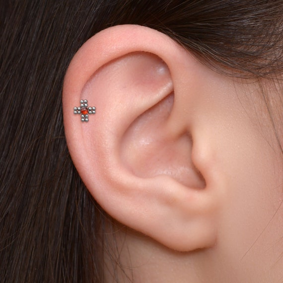316L Surgical Steel Red Jewelled Cherry Tragus//Cartilage Stud