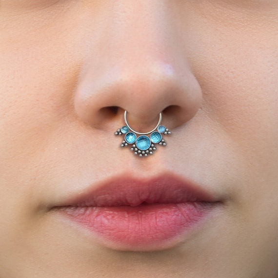 Septum Piercing Surgical Steel - Daith Earring Hoop - Septum Clicker with CZ Stones - Daith Jewelry 16g - Septum Nose Ring