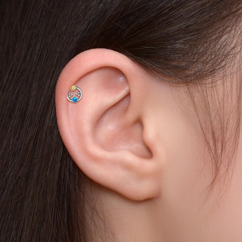 Labret Jewelry Opal Cartilage Earring Stud Titanium Forward Helix Jewelry Tragus Labret Earring Conch Earring Stud