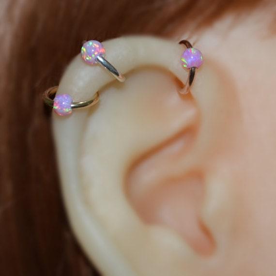Nose Ring - Silver Nose Hoop - 4mm Opal Helix Earring - Rook Piercing Jewelry - Septum Ring - Tragus Hoop - Cartilage Piercing - 16g