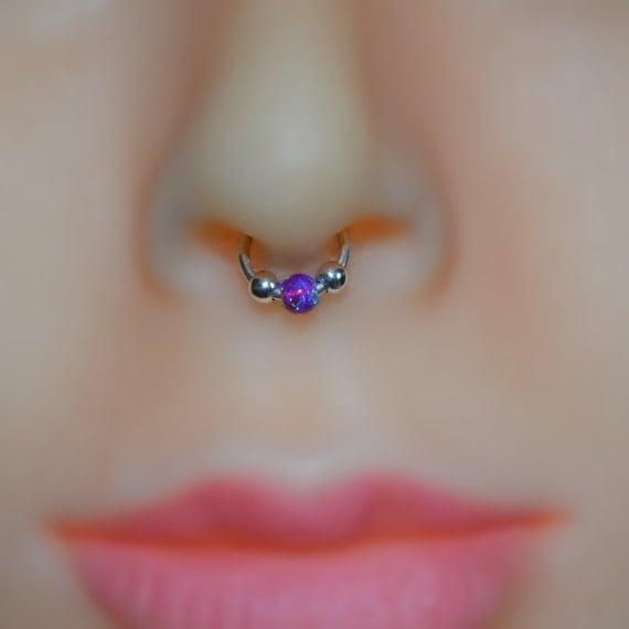 handicaps structurels prix le plus bas nouveau style 3mm opale Septum anneau - Septum bijoux en or - bague de nez - Tragus  boucle d'oreille - Cartilage Hoop - mamelon - Septum cerceau 18 gauge