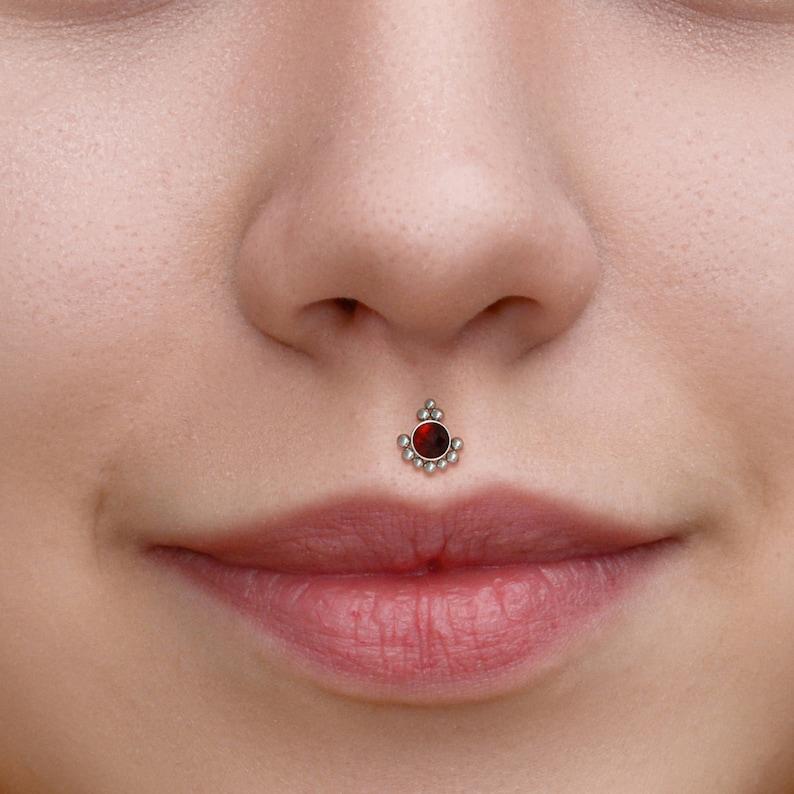 Surgical Steel Lip Ring Stud Medusa Piercing Jewelry Monroe Flat Back Stud With Garnet Stone Philtrum Labret Stud Labret Jewelry