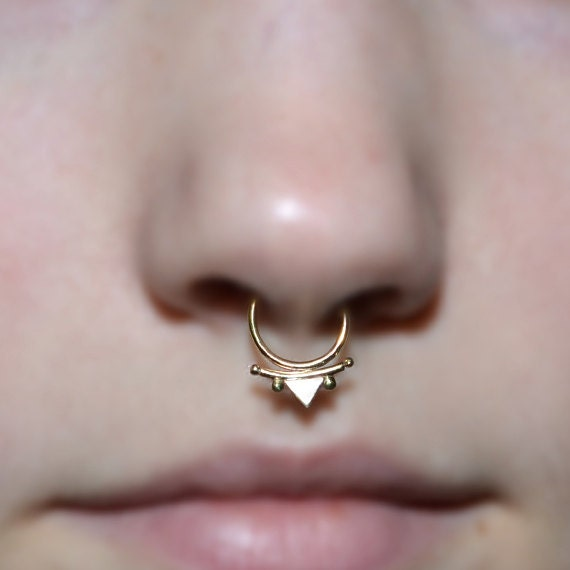 Septum Ring - Gold Septum Jewelry - Nose Ring - Tragus Earring - Cartilage Hoop - Helix Piersing - Nipple Ring - Rook Earring 18 gauge