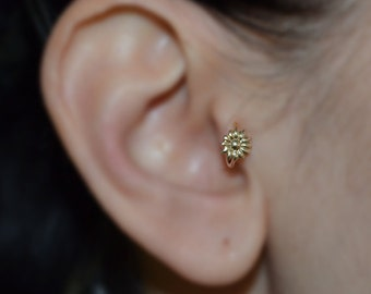 Tragus Earring - Gold Nose Hoop - Helix Earring - Rook Earring - 6mm Flower Tragus Jewelry 16g - Cartilage Piercing - Nose Ring