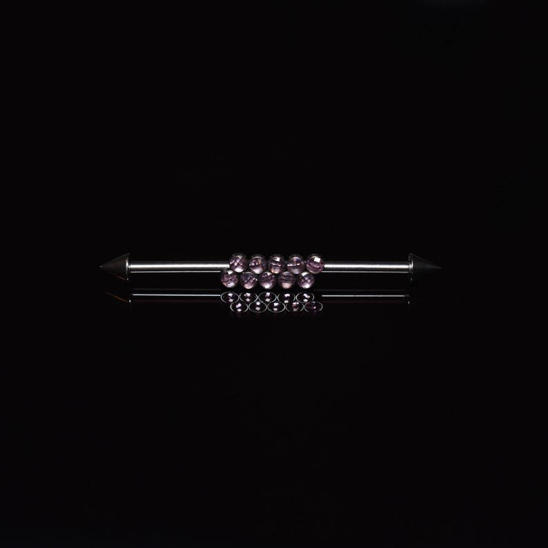 Industrial Piercing Jewelry Straight Barbell Jewelry Scaffold Barbell Ring 14g Titanium Industrial Barbell CZ