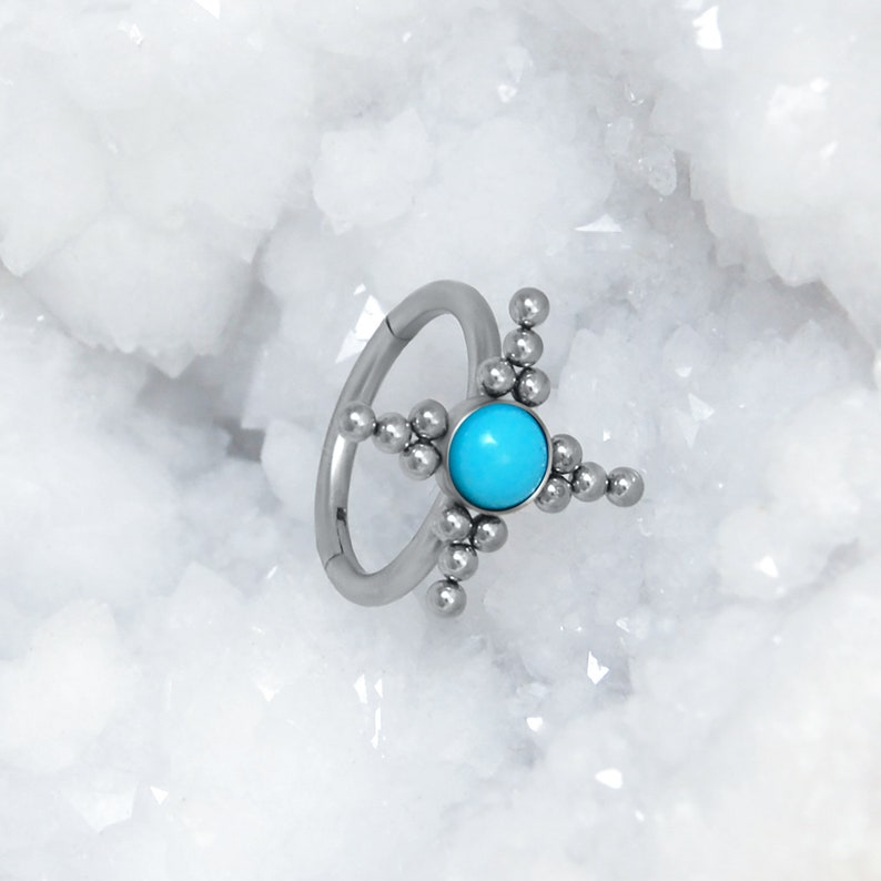 Conch Jewelry with Turquoise Stone Cartilage Hoop Surgical Steel Seamless Ring for Helix Piercing Rook Clicker Tragus Earring