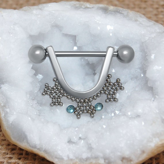 Nipple Ring CZ - Nipple Barbell Surgical Steel - Nipple Piercing 14g - Dangle Nipple Jewelry - Nipple Shields