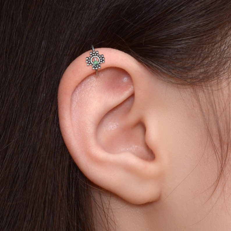 Rook Piercing Tragus Earring Surgical Steel Tragus Jewelry Cartilage Ring with CZ Stone Conch Clicker Helix Earring Hoop