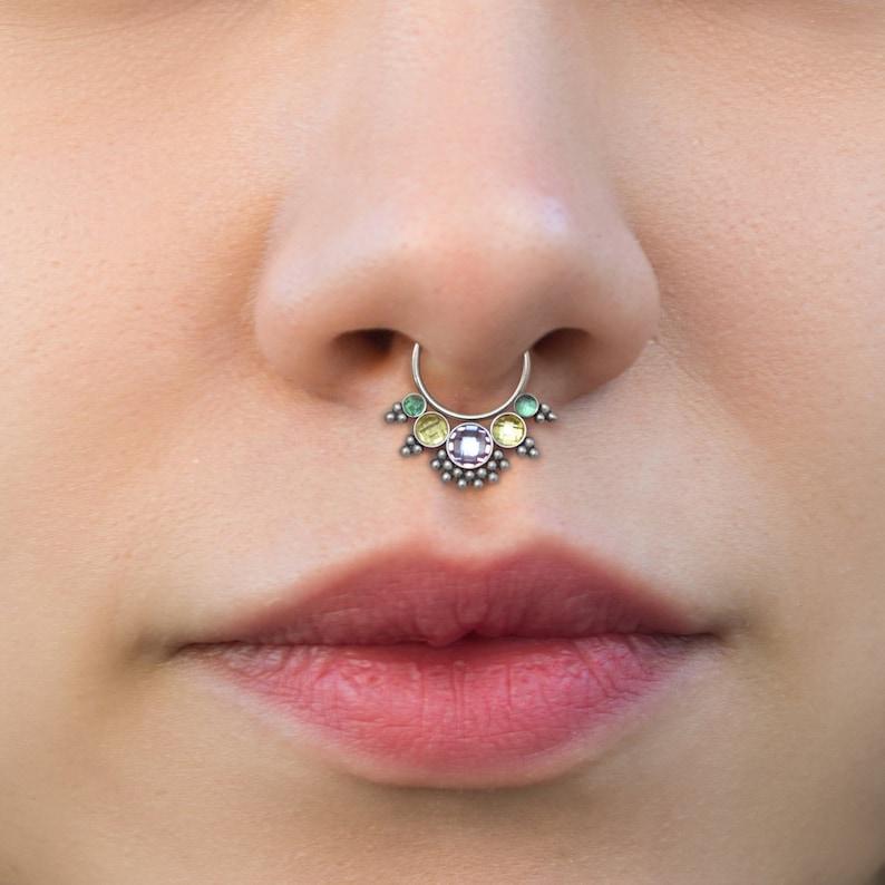 Daith Earring CZ Daith Piercing Septum Clicker Hoop Surgical Steel Septum Earring Septum Clicker Septum Jewelry 16g