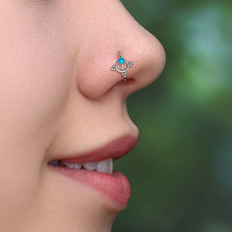 Nose Piercing Hoop Nose Ring Hoop Nostril Jewelry 18g Titanium Nose Ring Turquoise Nose Earring 22g Nose Hoop 20g