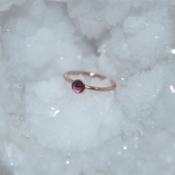Amethyst Nose Ring - Solid Gold Nose Hoop - Rook Piercing - Cartilage Earring - Tragus Earring - Daith Ring - Helix Hoop - Nose Piercing 20g