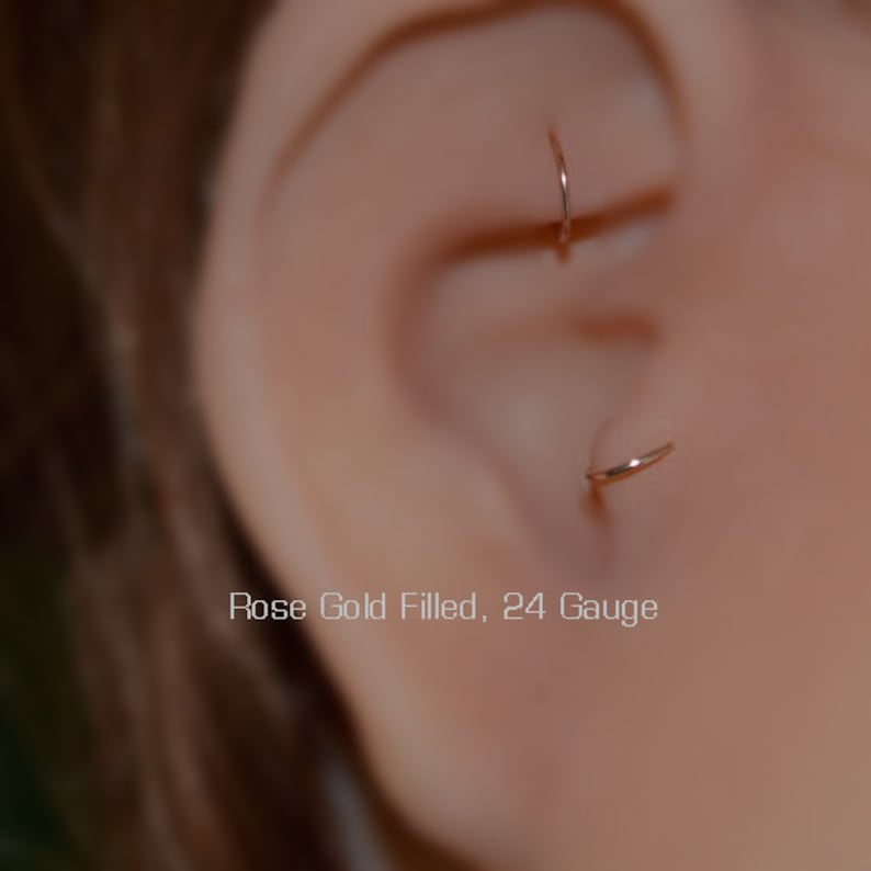 Rook Jewelry Nose Ring 24g Conch Earring Forward Helix Earring Gold Nose Hoop Daith Jewelry Cartilage Earring Tragus Ring
