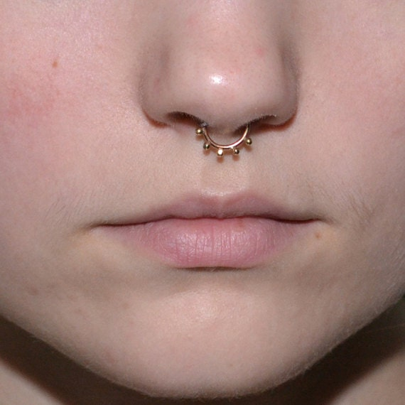 Septum Ring - Gold Septum Jewelry - Nose Ring Hoop - Rook Piercing - Cartilage Earring - Nipple Piercing - Helix Ring - Tragus Earring 18g