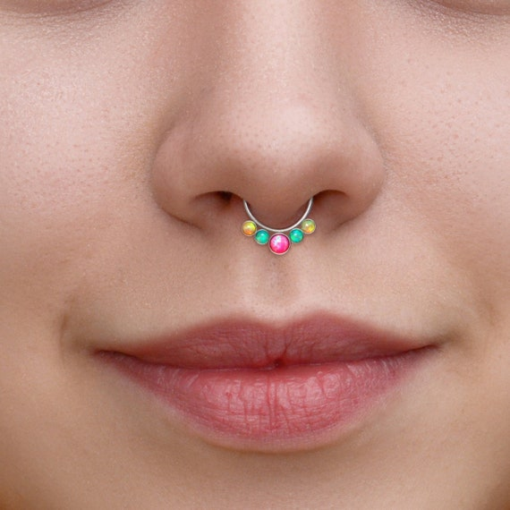 Septum Hoop - Opal Septum Ring 16g - Daith Jewelry Surgical Steel - Septum Piercing - Daith Piercing Jewelry - Septum Clicker