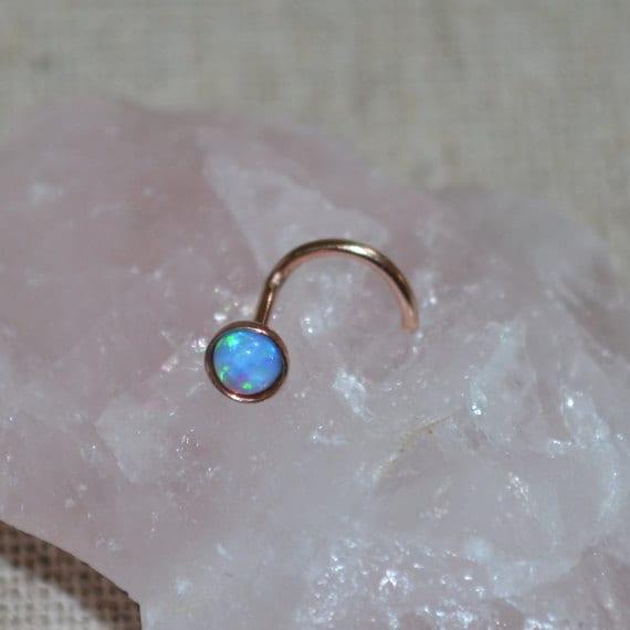 3mm Blue Opal Nose Stud - Gold Nose Ring Stud - Rook Earring - Cartilage Stud - Tragus Stud - Nose Screw - Helix Stud - Nose Piercing 16g