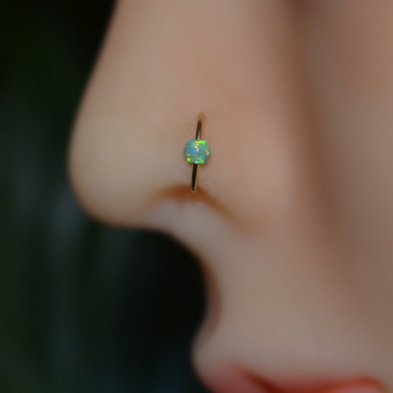 Silver Fake Septum Ring Fake Helix Piercing Nose Cuff 3mm Opal Septum Cuff Cartilage Cuff Fake Tragus piercing 20g