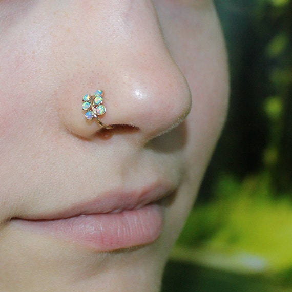 Nose Ring Hoop - Gold Nose Stud - Helix Piercing - Tragus Jewelry - Cartilage Earring - Septum 18g - Rook Earring - 2mm Opal Nose Piercing