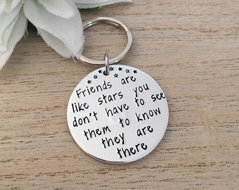 Best Friend Keyring - Friends Are Like Stars - Best Friends Keychain - Long  Distance - Personalised Friend Keyring - Maid of Honour Gift 06c783e165