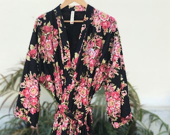 Long robe, Black floral robe, cotton kimono, bridesmaids robes, robes for bridesmaids, ankle length robes, mother of bride, mother of groom