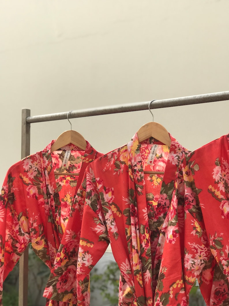 Attractive stock clearance rates Tomato red Long robes in lovely breathable cotton for tall bridesmaids Compliment shower guaranteed.