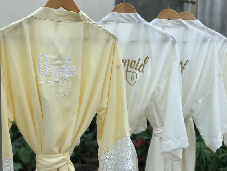 BULK DISCOUNT gold embroidered bridal getting ready gown Milk white Gold Bridesmaids robes white bride robe Set of 6 bridesmaid gift
