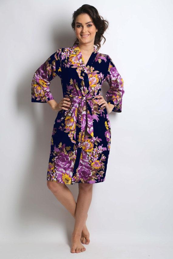 Navy floral robe purple floral robe lavender floral robe  bb5048701