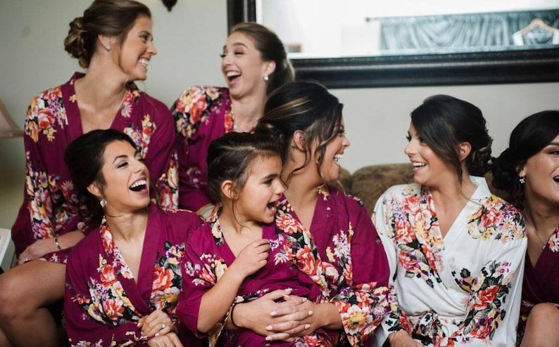 1ca0e9a0c2d2 6 robes set fun bridesmaids robes in burgundy maroon wine