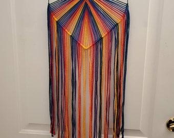 Rainbow Macrame Heart Wall Hanging (twist)