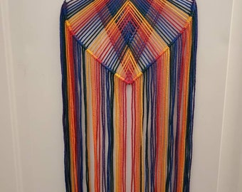 Rainbow Macrame Heart Wall Hanging