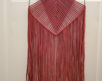 Red Macrame Heart Wall Hanging