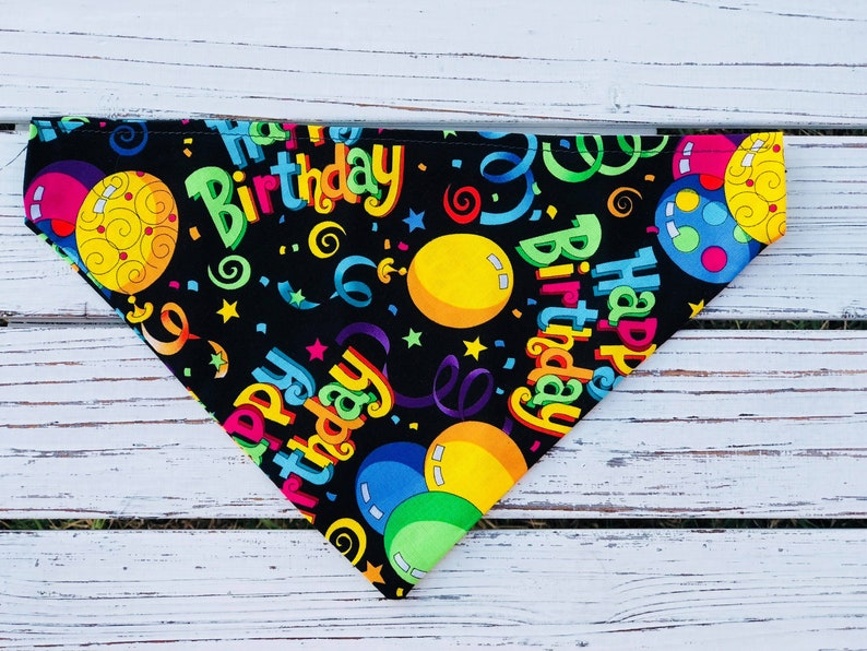 Slip On Collar Dog or Cat Bandana Made in NC Reversible Slide Ove Slide On Available in XS-XL