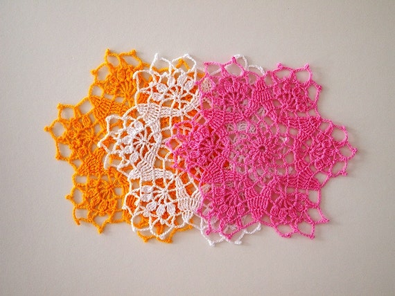 Made To Order Set Of 3 Shiny Small Crochet Doilies With Star Etsy